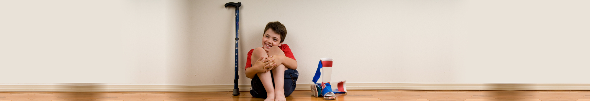 boy with disability smiling